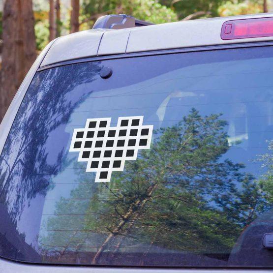 Weißer Aufkleber mit schwarzem JOYclub Herz für Heckscheibe und Lack deines Autos